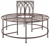 Esschert Design Baumbank aus Metall, 120 x 120 x 86 cm, für Bäume bis 42 cm Umfang, bis 400 kg, Rundbank, Sitzbank, Gartenbank, in klassischer Optik