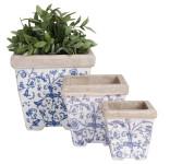 Esschert Design Blumentopf 3er Set, Blumenkübel, Pflanzenkübel, Pflanztrog, aus Keramik, Farbe: blau-weiß
