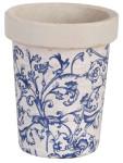 Esschert Design Blumentopf, Blumengefäß in blau-weiß aus Keramik, rund, ca. 13 cm x 13 cm x 16 cm