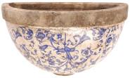 Esschert Design Blumentopf zur Wandmontage, halbrunder Blumentopf, Wandhalbschale, Keramik, Blau-Weiß bemalt, Maße: ca. 27,5 x 12 x 17,5 cm