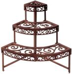 Esschert Design Blumentreppe, Blumenregal aus Gusseisen, rötliche Farbe, 1/4-rund, Maße: ca. 49 x 49 x 66 cm
