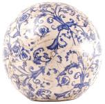 3 Stück Esschert Design Dekokugel, Gartenkugel aus Keramik in blau-weiß, Größe L, Ø ca. 18 cm
