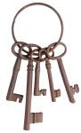 Esschert Design Deko Schlüsselbund, Dekoschlüssel, Gartendeko, mit fünf Schlüsseln, aus Gusseisen, Farbe: rot-braun, Maße: ca. 9 x 4 x 23 cm