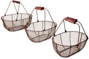 Esschert Design Drahtkorb, Metallkorb, Gemüsekorb 3-er Set in antikbraun mit Holzgriff, verschiedene Größen
