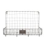 Esschert Design Drahtkorb Wandhalterung mit 1 Fach und 4 Aufhänge-Haken, 39 x 14 x 28,7 cm, aus Eisen, Montage-Lochung, Gartengeräte Aufbewahrung