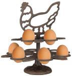 Esschert Design Eierständer aus Gusseisen, 25 x 25 x 26 cm, im Huhn-Design, für 10 Eier, Frühstücksei-Ständer