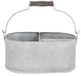 Esschert Design Eimer, Kübel mit 3 Kammern in grau aus verzinktem Metall, Größe S, ca. 29 cm x 20 cm x 14 cm