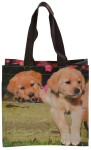 Esschert Design Einkaufstasche mit Griffen, Motiv mit zwei Welpen, Größe S, 25,0 x 9,5 x 24 cm, aus Polyester