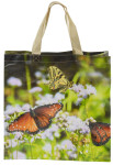 Esschert Design Einkaufstasche mit Griffen, Motiv Schmetterlinge, 39,5 x 14,5 x 40 cm, aus Polyester