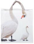 Esschert Design Einkaufstasche mit Griffen, Motiv Schwan, 39,5 x 14 x 51 cm, aus Polyester, in weiß