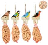 Esschert Design Einweg Vogelfutter Aufhänger mit Erdnüssen 250g für Wildvögel 9 x 5,6 x 28 cm, farbig sortiert
