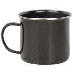 Esschert Design Emaille Becher, Tasse, in schwarz, Rand silbern, 13 x 10 x 8,7 cm