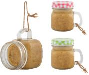 Esschert Design Erdnussbutter Vogelfutter ohne Salz, 500g für Wildvögel, im Henkel-Glas