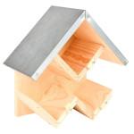 Esschert Design Erdnussbutterhaus mit Dach, aus Kiefernholz/Zink, 24,3 x 13,3 x 24,7 cm, mit Glas-Fixierungen, einfache Montage