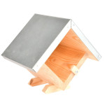 Esschert Design Erdnussbutterhaus mit Dach, quadratisch, aus Kiefernholz/Zink, 17,9 x 13,3 x 16,3 cm, mit Glas-Fixierung, einfache Montage