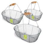 Esschert Design Erntekorb, 3-er Set, Pflückkorb, Einkaufskorb, Metallkorb, silber, mit Hilzelement am Henkel, 3 teilig