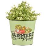 Esschert Design Farmers' Pride Blumentopf aus Zink, 16,0 x 16,0 x 14,2 cm