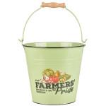 Esschert Design Farmers' Pride Eimer 5 Liter aus Zink und Holz, 25,5 x 25,5 x 23,0 cm