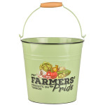 Esschert Design Farmers' Pride Eimer 9 Liter aus Zink und Holz, 28,3 x 28,3 x 27,5 cm