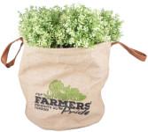 Esschert Design Farmers' Pride Pflanztasche L aus Jute, PE und PU, 40,0 x 40,0 x 39,0 cm