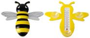 Esschert Design Fensterthermometer, Temperaturmesser Motiv Biene mit Saugnapf, von Innen ablesbar, ca. 22 cm x 20 cm