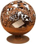 Esschert Design Feuerball in Blumen Optik, laser cut, 58 x 57 x 66 cm, Rost-Optik, aus Stahl, runde Gartendekoration, Feuerstelle mit Fuß