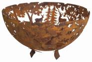 Esschert Design Feuerschale in Rost-Optik, 58 x 58 x 37 cm, aus Metall, laser-geschnitten, tolle Reh- und Elchmotive, mit sicherem Stand