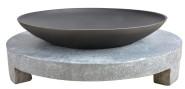 Esschert Design Feuerstelle Granito, Feuerschale auf rundem Granitsockel, Schale Ø 59 cm, Sockel Ø 68 cm