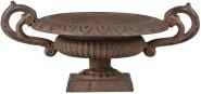 Esschert Design Französische Vase mit Griffen, 29 x 20 x 13 cm, Gusseisen, niedrig, Größe S, Blumenvase, Pflanzenvase, stabiler Stand, Gartendekor