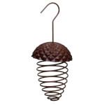 Esschert Design Futterfeder Eichel aus Eisen/Kunststoff, 9,7 x 9,7 x 22,8 cm, hängend, Futterspirale für Vogelfutter