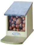 Esschert Design Eichhörnchen Futterhaus, Futterhäuschen für Eichhörnchen, mit Zinkdach, klappbarer Deckel, Maße ca. 12 x 17,5 x 22,5 cm