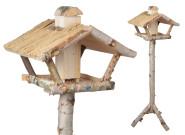Esschert Design Futterhaus, Vogelhaus mit Silo aus Birke auf Ständer