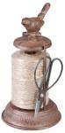 2 Stück Esschert Design Garnspender, Schnurrhalter mit Schere, ca. 12 cm x 12 cm x 23 cm