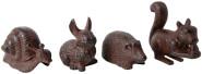 5 Stück Esschert Design Gartenfigur, Skulptur Motiv verschiedene Tiere, sortiert, Größe S, ca. 12 cm x 5,4 cm x 11 cm