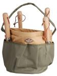 Esschert Design Gartengerätetasche, Werkzeugtasche, rund mit Seitentasche, ca. 28 cm x 28 cm x 26 cm