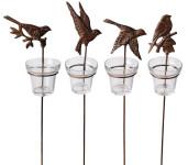5 Stück Esschert Design Gartenlicht, Teelichthalter Motiv Vögel, mit Erdstab und Glaseinsatz, sortiert, ca. 8,5 cm x 9 cm x 42 cm