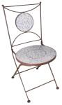 2 Stück Esschert Design Gartenstuhl mit Sitzfläche und Rückteil (Teil davon) aus Keramik in blau-weiß, ca. 42 cm x 54 cm x 89 cm
