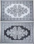 Esschert Design Gartenteppich Perser schwarz-weiß 186 x 120 cm, wasserresistente Schuhmatte