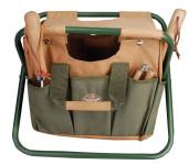 Esschert Design GT01 Kombi-Hocker mit Werkzeughalterungen, 40 x 31 x 31 cm, in grün/braun