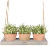 Esschert Design Hängevorrichtung für 3 Blumentöpfe, 53 x 19 x 4,5 cm, aus Holz