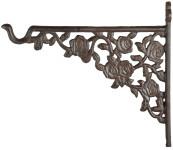 Esschert Design Haken für Hanging Basket in Rosenoptik, aus Gusseisen, 3,5 x 26 x 22,5 cm, stabiler Aufhängehaken, mit Montagelochung
