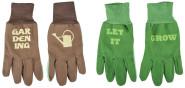 """Esschert Design Handschuhe mit Text, sortiert, 13 x 1 x 26 cm, in braun und grün, mit Bund, mit """"GARDENING"""" und Gießkanne, mit """"LET IT GROW"""""""
