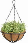 Esschert Design Hanging Basket mit Metallgestell, Ø 30 cm, mit Kokoseinlage, Höhe 13 cm, mit Aufhängekette