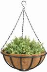 Esschert Design Hanging Basket mit Metallgestell, Ø 35 cm, mit Kokoseinlage, Höhe 13 cm, mit Aufhängekette