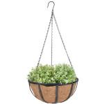 Esschert Design Hanging Basket schwarz aus Eisen und Kokosfaser, 30,7 x 30,7 x 14,8 cm
