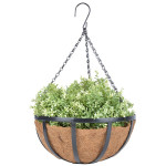 Esschert Design Hanging Basket schwarz aus Eisen und Kokosfaser, 35,5 x 35,5 x 16,3 cm