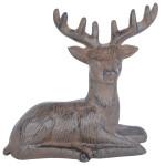 Esschert Design Hirsch liegend aus Gusseisen,16,1 x 7,5 x 14,4 cm