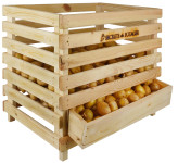 Esschert Design Holz- Kartoffelkiste aus Kiefer, 59,5 x 47,0 x 49,3 cm, stapelbar, offene Struktur, made in EU, Belüftungslöcher, Aufbewahrungskiste