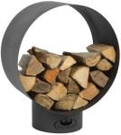 Esschert Design Holzlager aus Stahl, rundes Holzlager, 58 x 38 x 72 cm, aus Stahl, Lagerplatz für Innen und Außen, in anthrazit