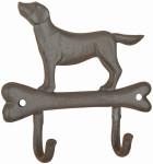"""Esschert Design Hund auf Knochen, Wandhakenleiste, aus dem Material """"Gusseisen"""", 19,3 x 4,8 x 18,3 cm"""